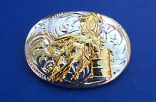 Western Equestrian Tack Bright Silver/Gold Barrel Racer Oval Concho's Set of 6