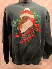 Vintage Teddy Bear In CHRISTMAS Stocking Sweat Shirt Men's Size L/XL