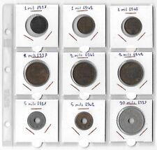 PALESTINE LOT OF 9 COINS 3x1 Mil 3x2 Mils 2x5 Mils 1x 20 Mils E5