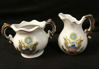 Vintage Made in Japan Marked Miniature Porcelain Sugar & Creamer America Theme