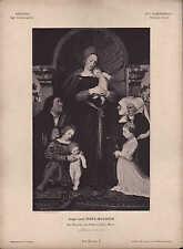 DRESDEN, Lithografie: XVI. Jh Dt Schule Hans Hohlbein Die Madonna Copie