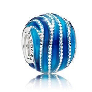 Genuine Pandora Sterling Silver Blue Swirls 797012ENMX  Bead Charm S925 ALE