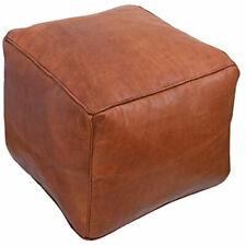 Square Moroccan Genuine Leather Boho Pouf Ottoman Footstool Pouffe 100% Handmade