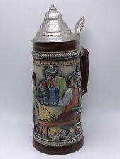 Large German Beer Stein (Old Vintage German Lidded Mug)