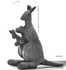 Katie Kangaroo plus Panda knitting Pattern. Laminated copy.