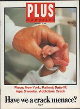 PLUS MAGAZINE SEPT 13 1989 HAVE WE A CRACK MENACE, ANNIE LENOX JAMES HARRIES
