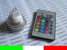 MR16 LAMPADINA FARETTO SPOT RGB CAMBIACOLORE 12V 3W CON TELECOMANDO E1A3
