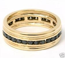 10K 1.14CTW GENUINE STURDY BLACK DIAMOND BAND RING!! MENS DIAMOND WEDDING RING