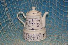 490ml*indisch blau Teekanne mit Stövchen Kanne Porzellan Strohblume maritim