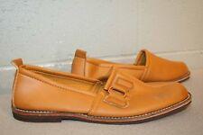 8.5 Nos Mens Vtg 1970s Skamps Buckle Smoking Slipper Mocs Gold Brown SlipOn Shoe