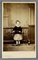 c1860s lovely CDV young girl with hoop and her favourite pull-along horse toy