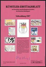 BUND KÜNSTLER-ETB 1987/4 VOLKSZÄHLUNG KÜNSTLER-ERSTTAGSBLATT LTD. EDITION