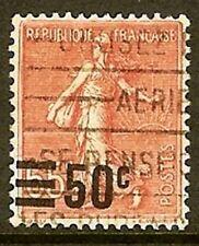 """FRANCE TIMBRE STAMP N° 224 """" SEMEUSE 65c DE 1906-26 SURCHARGEE 50c """" OBLITERE TB"""