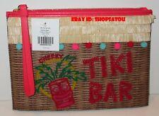 NWT KATE SPADE Breath of Fresh Air TIKI BAR Pouch Summer Straw Wristlet Clutch