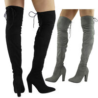 WOMENS LADIES THIGH HIGH OVER THE KNEE PARTY FAUX SUEDE STRETCH BOOTS SHOES SIZE