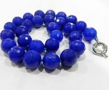 """New 10mm Blue Sapphire Faceted Gems Round Beads Necklace 18""""##MJ211"""
