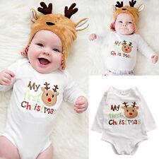UK Newborn Kid Baby Boy Girl Deer Romper Jumpsuit Bodysuit Cotton Clothes Outfit