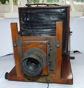 Antique Mahogany Folding Field Camera With Brass Lens