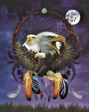 """Eagle Dream Catcher Blanket Silk Touch with Sherpa Lining 50"""" x 60"""""""