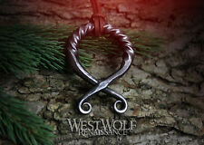 Large Viking Troll Cross Pendant with Twisted Top - Hand-Forged Norse Necklace