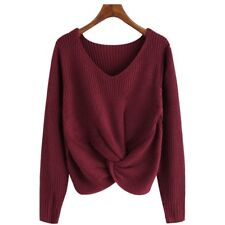 Womens Winter V-Neck Knot Twist Sweater Cross Knitted Long Sleeve Pullover Tops