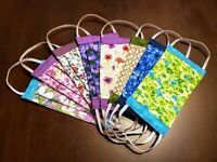 "Handmade Washable Floral Double Layer Cotton Fabric Face Mask with 1/4"" Elastic"