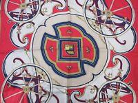 Auth HERMES Scarf 100% Silk WASHINGTON'S CARRIAGE Navy Multi Color 92110