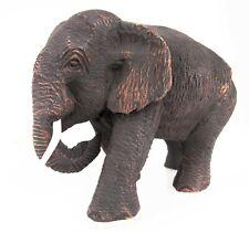 "Thai Teak Wood Elephant Sculpture Hand Carved Wooden Figurine Lucky Statue 5"""