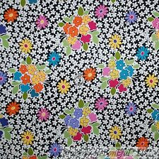 BonEful Fabric Cotton Quilt VTG Black B&W Pink Yellow Rainbow Flower SALE SCRAP