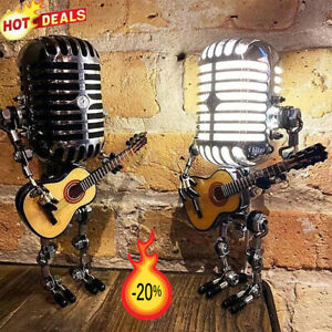 Retro Style Microphone Robot Lamp Holding Guitare Vintage Home Decor