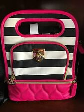Betsey Johnson Top Handle Lunch Tote* Be Mine* Stripe-Black/white Striped