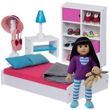 More details for doll bed & bedroom furniture set for american girl and other 18 inch / 46cm doll