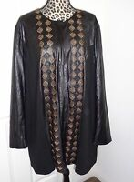 PETER NYGARD Women Embroidered Black Faux Leather Trim Zip Lined Jacket Size 3X