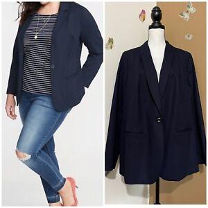 Talbots Women's Sz 16W Navy Blue Single Button Blazer Jacket Cotton Blend EUC