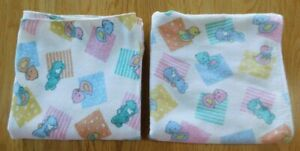 Vintage DUNDEE Baby Receiving Blanket Lot of 2 Same~Pastel Bunny/Duck/Chick