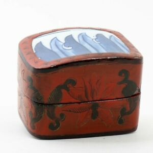 """Chinese Red & Black Lacquer Box Porcelain Blue and White Top 2.5"""" Tall x 3.5"""" W"""