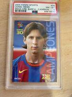 2004 Panini Sports Mega Cracks Barca Campeon Lionel Messi ROOKIE RC #35 PSA 8