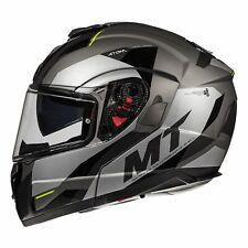 MT Atom SV Transcend Flip Front Motorcycle Helmet - Matt Grey/ Gloss Black