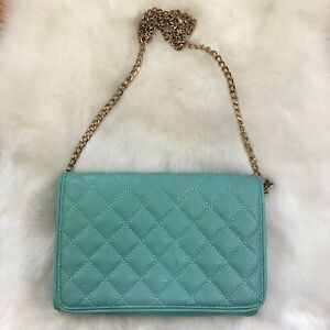 Mint Green Quilted Cross body Purse Gold Chain Strap