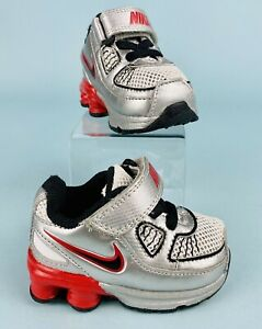 Nike Shox Turbo Infant Baby Shoes Size 2C Silver Red Black 386602-100