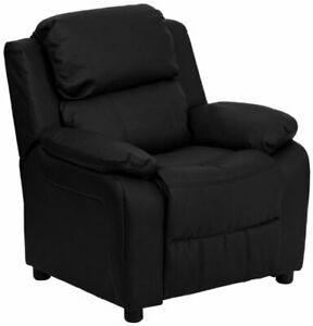 Flash Furniture Deluxe Padded Black Leather Kids Recliner with Storage Arms New