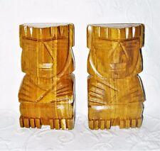 VTG Carved Striated Marble Alabaster Onyx Agate Aztec Tiki Totem Book Ends EUC