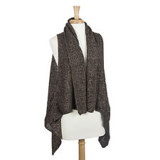 New Taupe and Black Knit Vest Cape Wrap Jacket Medium Weight One Size Fits Most