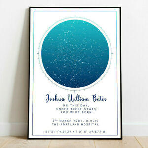 Personalised Night Sky Star Map Birthday The Day you were Born Word Art Print