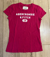 Abercrombie & Fitch Women's T Shirt Pink Short Sleeve Large Cotton *Irregular*