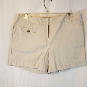 Ann Taylor 8 x5 khaki utility high rise shorts lightweight flat front super soft