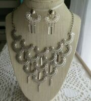 Sarah Coventry Signed Silver tone Dangle Necklace- 16 3/4 inch w/Clip Earrings