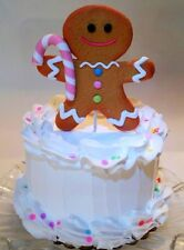 "Pastel Gingerbread Man Fake Cake 6"" White Pastel Confeti Decoration Prop Staging"
