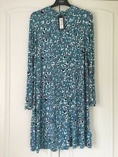BNWT M&S Teal mix floral long sleeved dress with high neckline size 18