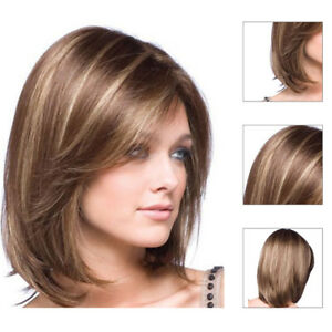 Women Real Natural Short Straight Hair Wigs BOB Style Cosplay Party Full Wig ZH